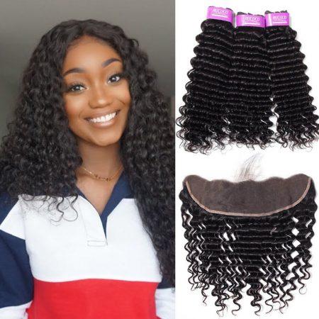 Brazilian Deep Wave Weave Hair 3 Bundles With Frontal Best Virgin Human Hair Online