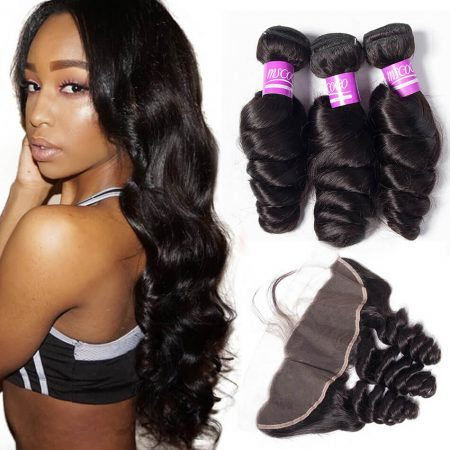 Loose Wave hair 3 Bundles With Lace Frontal