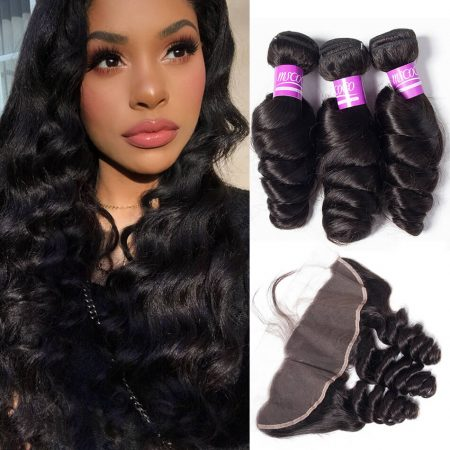 Loose Wave hair 4 Bundles With Lace Frontal