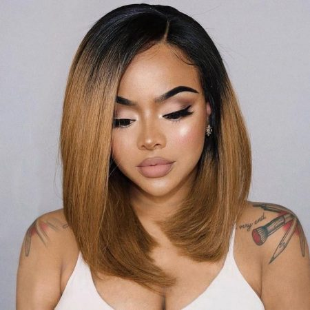 colored bob wig with dark roots