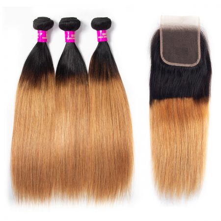 Brazilian Ombre 1B/27 Straight Hair Bundles With Lace Closure
