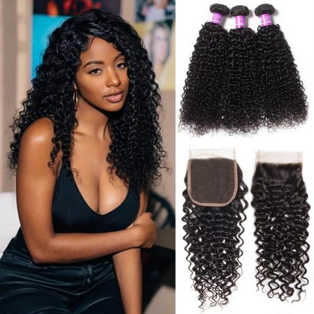 curly wave hair bundles with lace closure