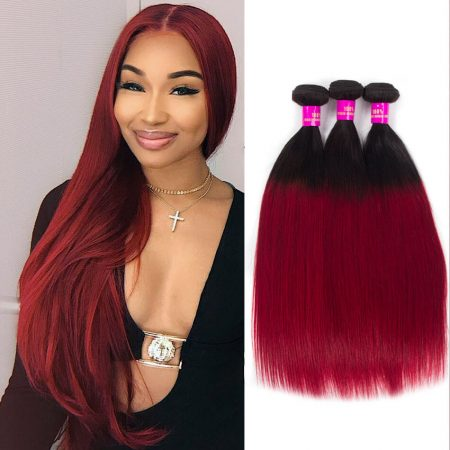 Colored T1B/Burgundy Ombre Human Hair Weave
