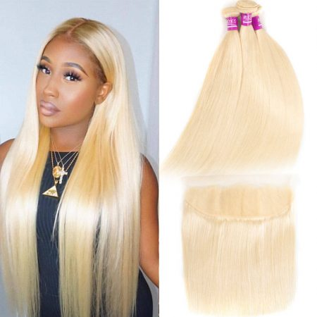 613 Blonde Bundles With Frontal Brazilian Straight Human Hair Bundles With Frontal