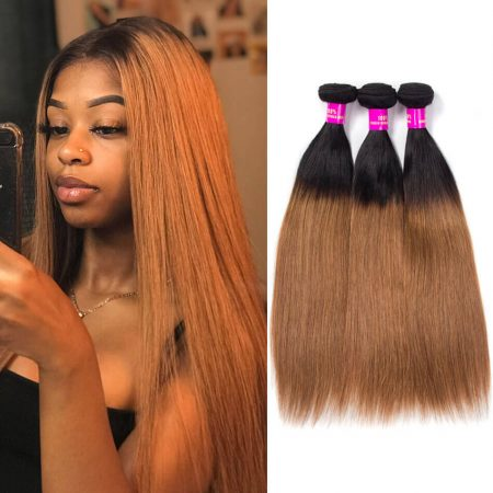 Brazilian Ombre T1B/30 Straight Human Hair Weave 2 Tone Black to Brown Color