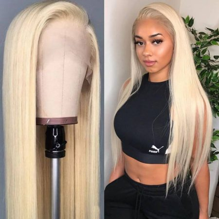 Blonde Human Hair Wig In Straight Texture With Natural Hairline