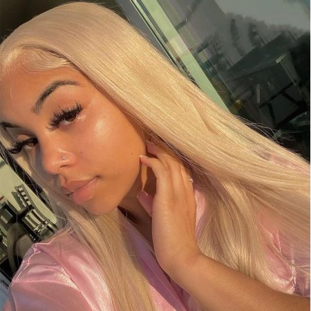 blonde 613 straight hair with natural hairline
