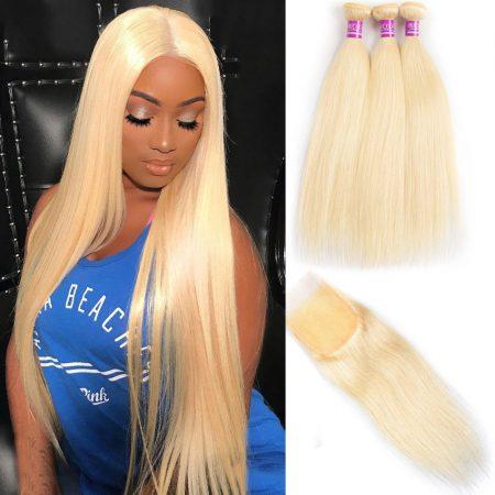 MSCOCO Straight Hair 613 Blonde Bundles With Closure Brazilian Hair