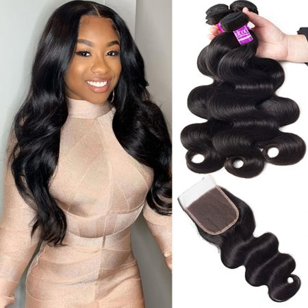 Brazilian Body Wave Hair 3 Bundles With Lace Closure Virgin Human Hair Weave