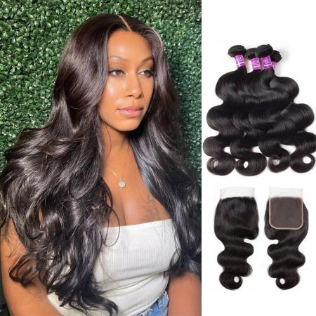 Brazilian Body Wave 4 Bundles With Lace Closure Mscoco Hair