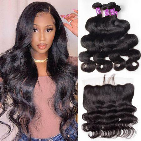 Virgin Human Hair Weave Brazilian Body wave Weave hair 4 Bundles With Lace Frontal