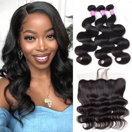 Brazilian Body Wave Hair 3 Bundles With Lace Frontal Virgin Human Hair Weave