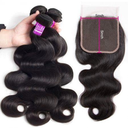 Brazilian Body Wave Hair Bundles With 5x5 Lace Closure Virgin Hair Bundles With Closure