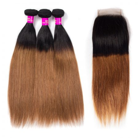 Brazilian Ombre 1B/30 Straight Hair Bundles With Lace Closure