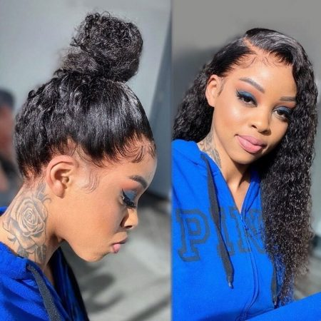 curly human hair ponytail wig 360 lace wig