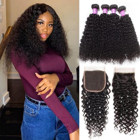 Brazilian Curly Wave Hair 4 Bundles With Closure 100% Virgin Human Hair Bundles With Closure Jerry Curly