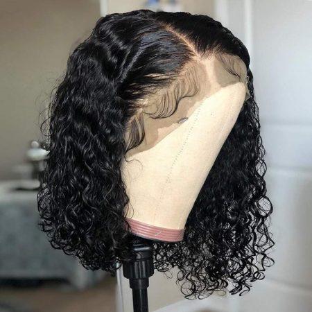 curly human hair bob wig