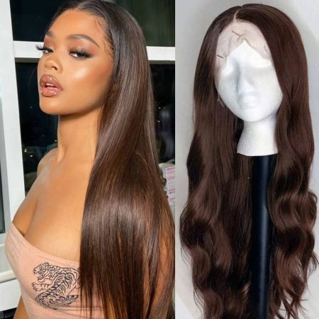 Dark Brown Ombre Wig In Straight Hairstyle