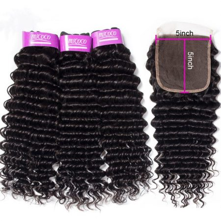 Mscoco Deep Wave Bundles With Closure 3 Bundles With 5x5 Lace Closure Remy Brazilian Human Hair Weave Bundles With Closure