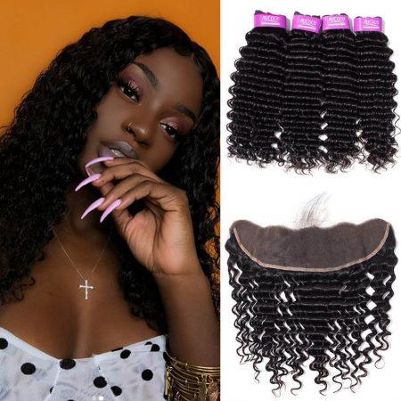 Brazilian Deep Wave Weave Hair 4 Bundles Best Virgin Human Hair With Lace Frontal
