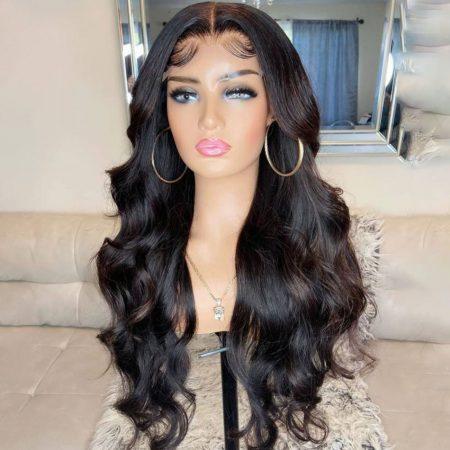 body wave closure wig natural looking