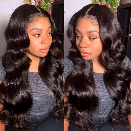Natural Black Body Wave Lace Front Wig