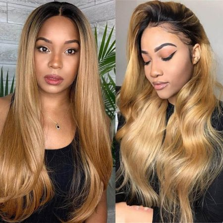 Mscoco Hair New Arrival 1B 27 Colored Lace Front Wig In Straight Or Body Wave