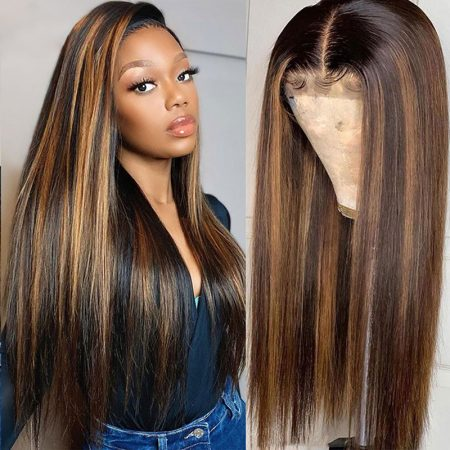 Straight Hair Ombre Lace Front Wigs Black And Honey Blonde Highlight Wigs