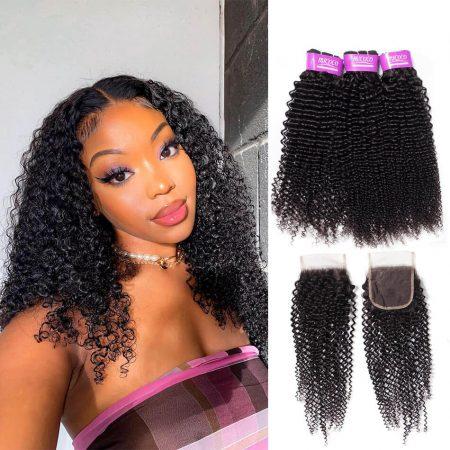 Kinky Curly Hair Weaves Bundles With Closure