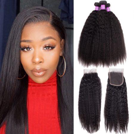 Brazilian Kinky Straight Bundles Human Hair 3 Bundles With Lace Closure