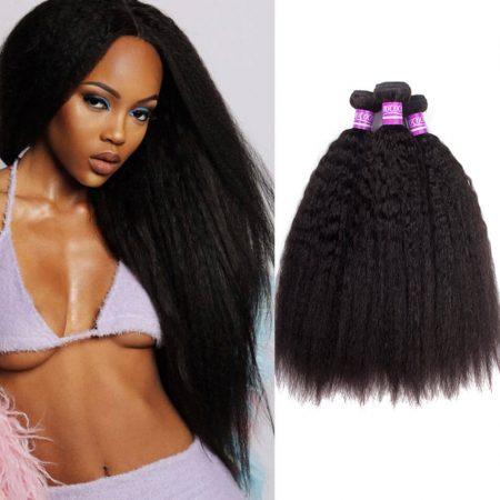 Indian Kinky Straight 3 Bundles Hair Brazilian Virgin Human Hair