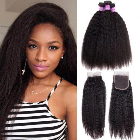 Brazilian Kinky Straight Hair With Lace Closure Virgin Human Hair 4 Bundles With Closure