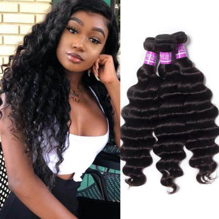 Peruvian Loose Deep Wave 3 Bundles Deals Virgin Hair Natural Color