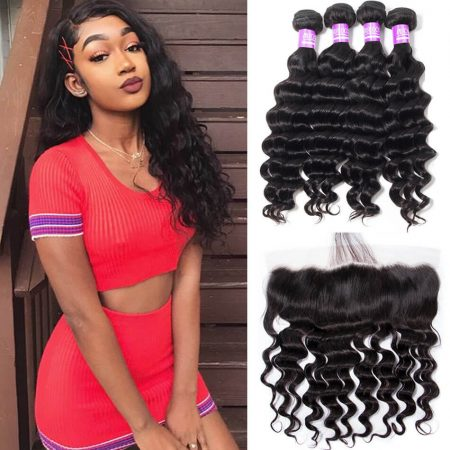 Loose Deep Wave hair 4 Bundles With Lace Frontal