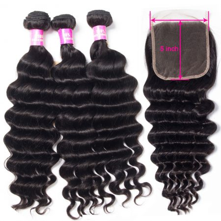 Brazilian Hair Weave Bundles With 5X5 Lace Closure Loose Deep Wave With Closure 3 Bundles Remy Human Hair Mscoco 10- 28 INCH