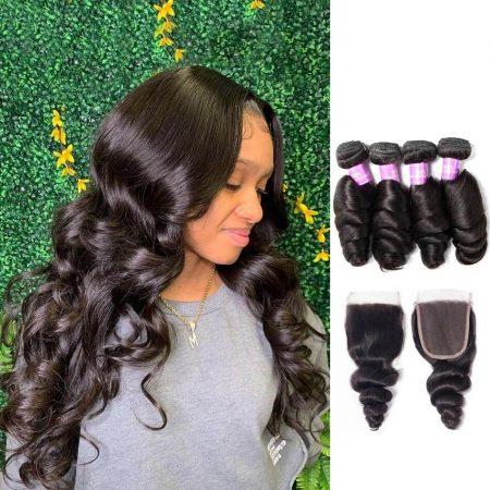 Loose Wave 4 Bundles Hair With Lace Closure Virgin Human Hair Sale
