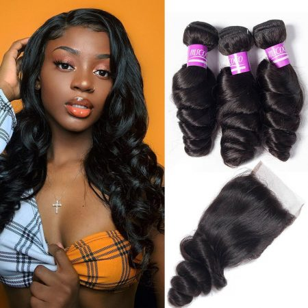 Brazilian Loose Wave Bundles Hair With Lace Closure Virgin Human Hair Sale
