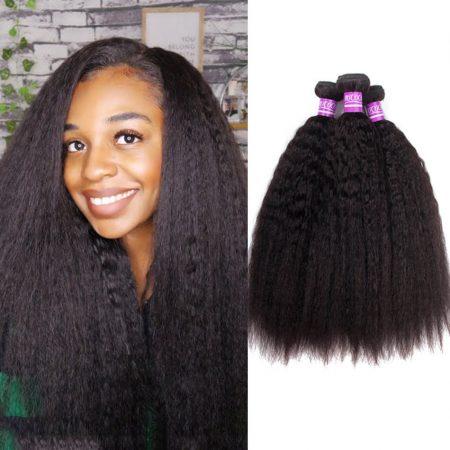 Brazilian Kinky Straight 3 Bundles Brazilian Virgin Human Hair