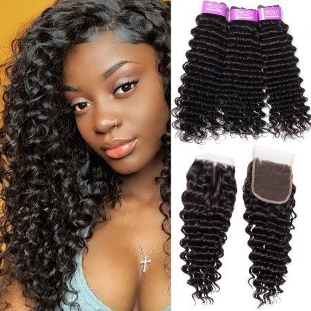Brazilian Deep Wave Hair 3 Bundle Deals With Closure Virgin Hair Bundles With Closure