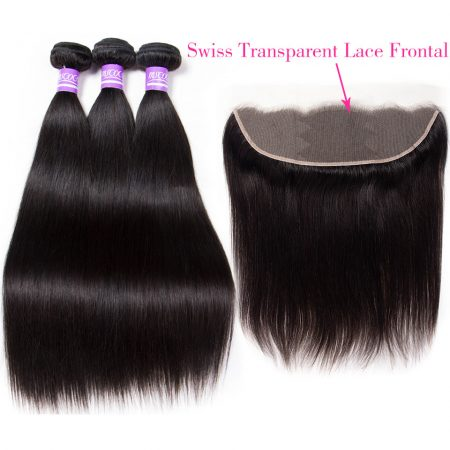 Straight Brazilian Human Hair Bundles With Transparent Lace Frontal 3 Bundles with Lace Closure