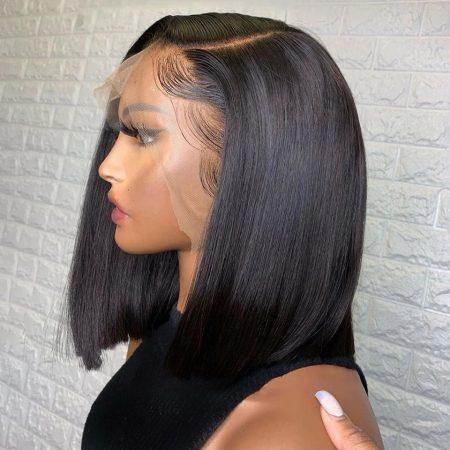 Short Bob Wig Brazilian Straight 13x4 Lace Front Human Hair Wigs 8 -14 Inch 150 Density