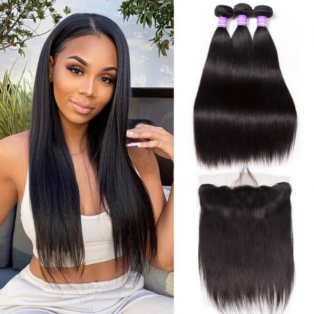 Brazilian Straight hair 3 Bundles With Lace Frontal Virgin Human Hair Weave