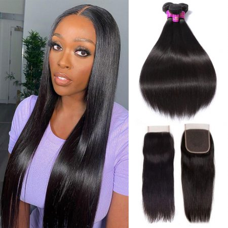 Brazilian Straight Hair Bundles With 5x5 Lace Closure Virgin Hair Bundles With Closure