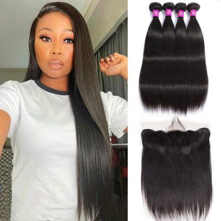 Brazilian Straight Human Hair Weave 4 Bundles With Virgin Human Hair Weave Lace Frontal