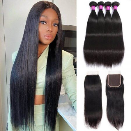 straight hair 4 bundles with 4x4 lace closure