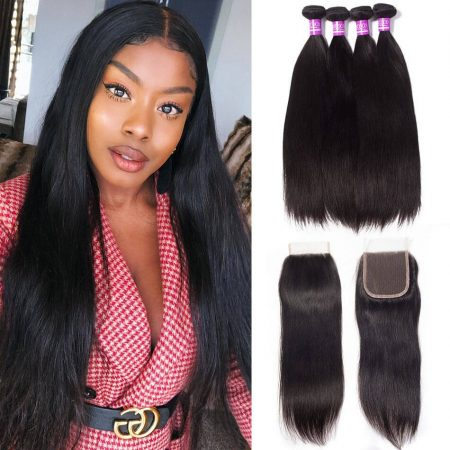 Brazilian Straight Human Hair 4 Bundles With Lace Closure Virgin Hair Bundles With Closure