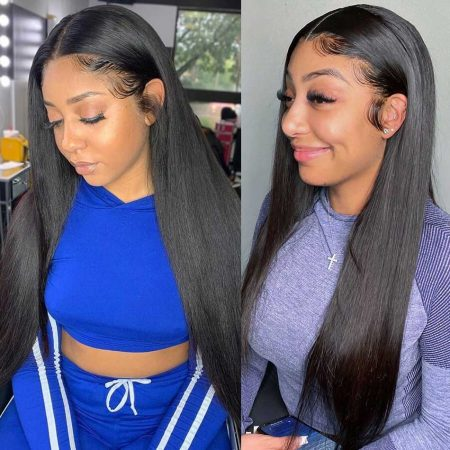 human hair lace wig in straight hair