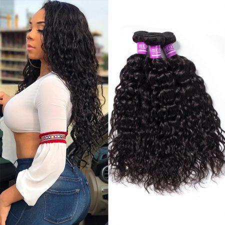 Indian Water Wave Hair Virgin Human Hair Weave 3 Bundles