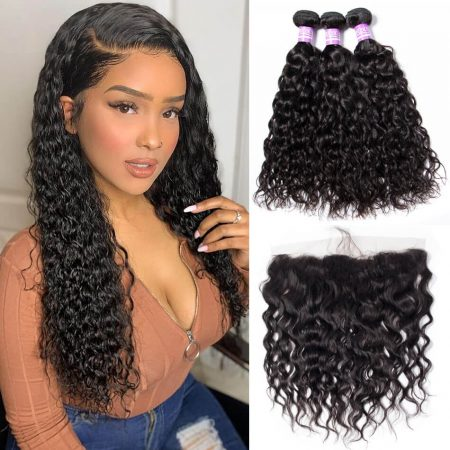 water wave 3 bundles with lace frontal