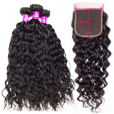 Mscoco Water Wave Bundles With 5x5 Closure Brazilian Hair Weave 3 Bundles With Closure Remy Human Hair With 5x5 Lace Closure
